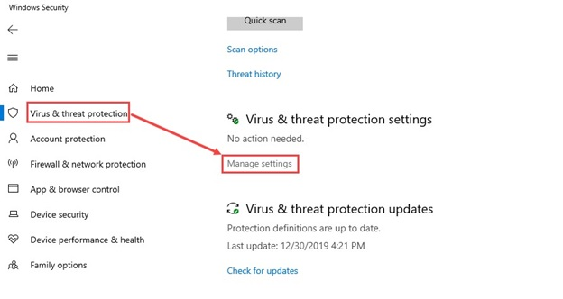 Virus_Threat_protection_settings