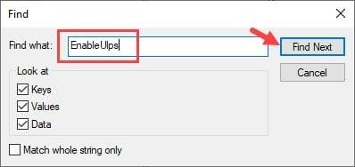 EnableUlps_Find_registry_editor