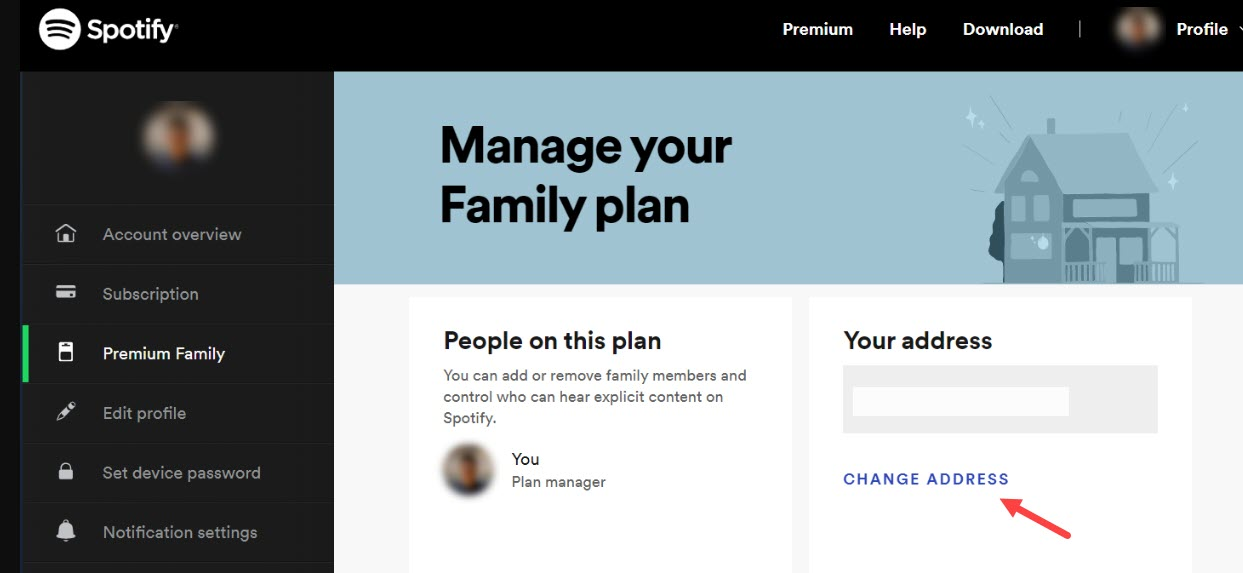 Change_spotify_family_plan_adress